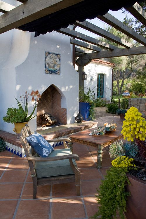 Spanish Style White Outdoor Fireplace Outdoor Fireplace Grace Design  Associates Santa Barbara, CA