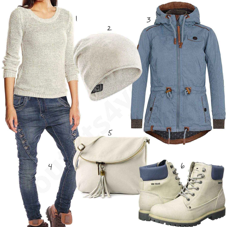 Damenoutfit für den Winter in Creme und Blau | Cool outfits