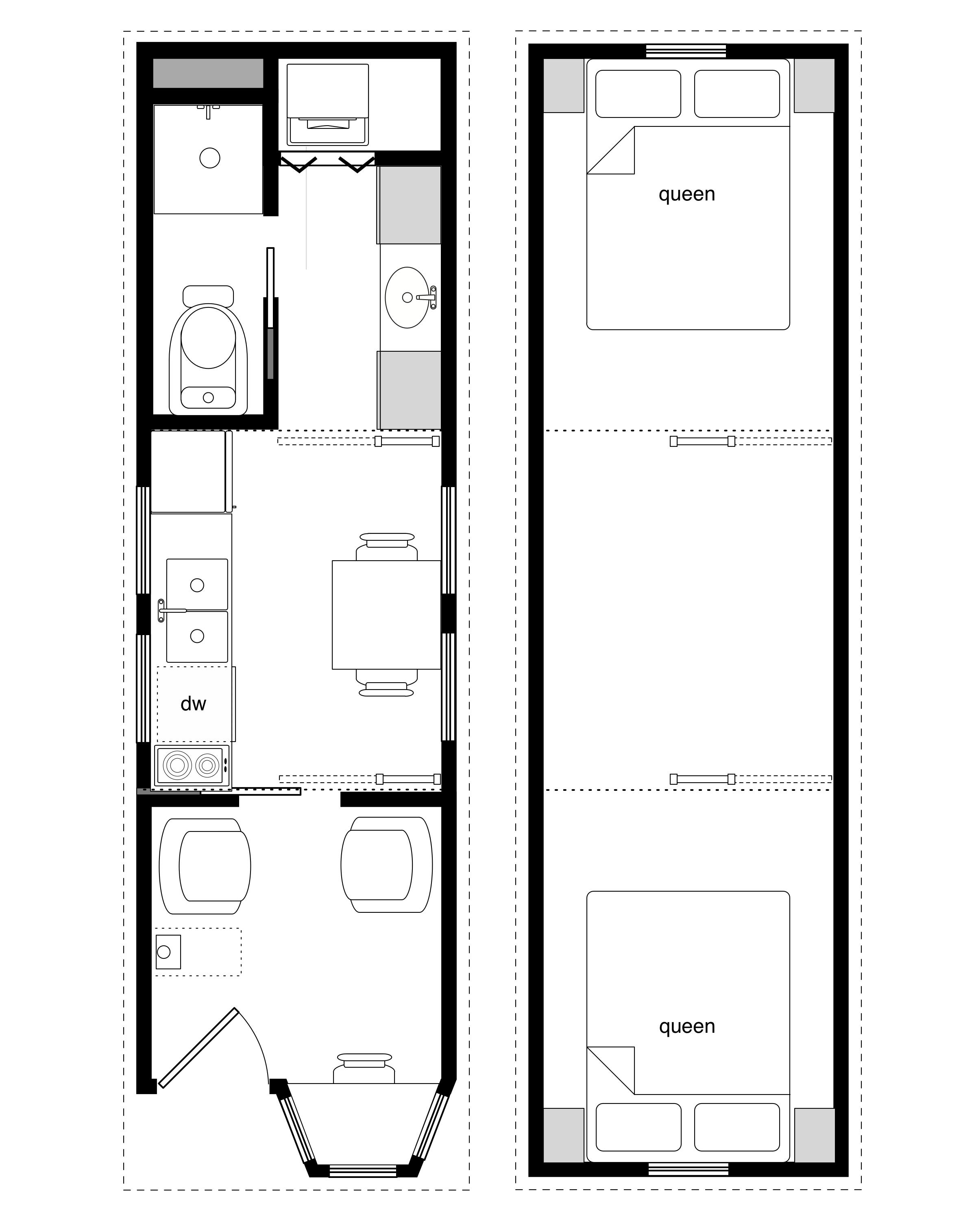 Coastal Cottage with bay window – 8 x 28 tiny house framing