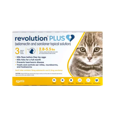 Revolution Plus Topical Solution 2.85.5lbs Cat, Pack of 3