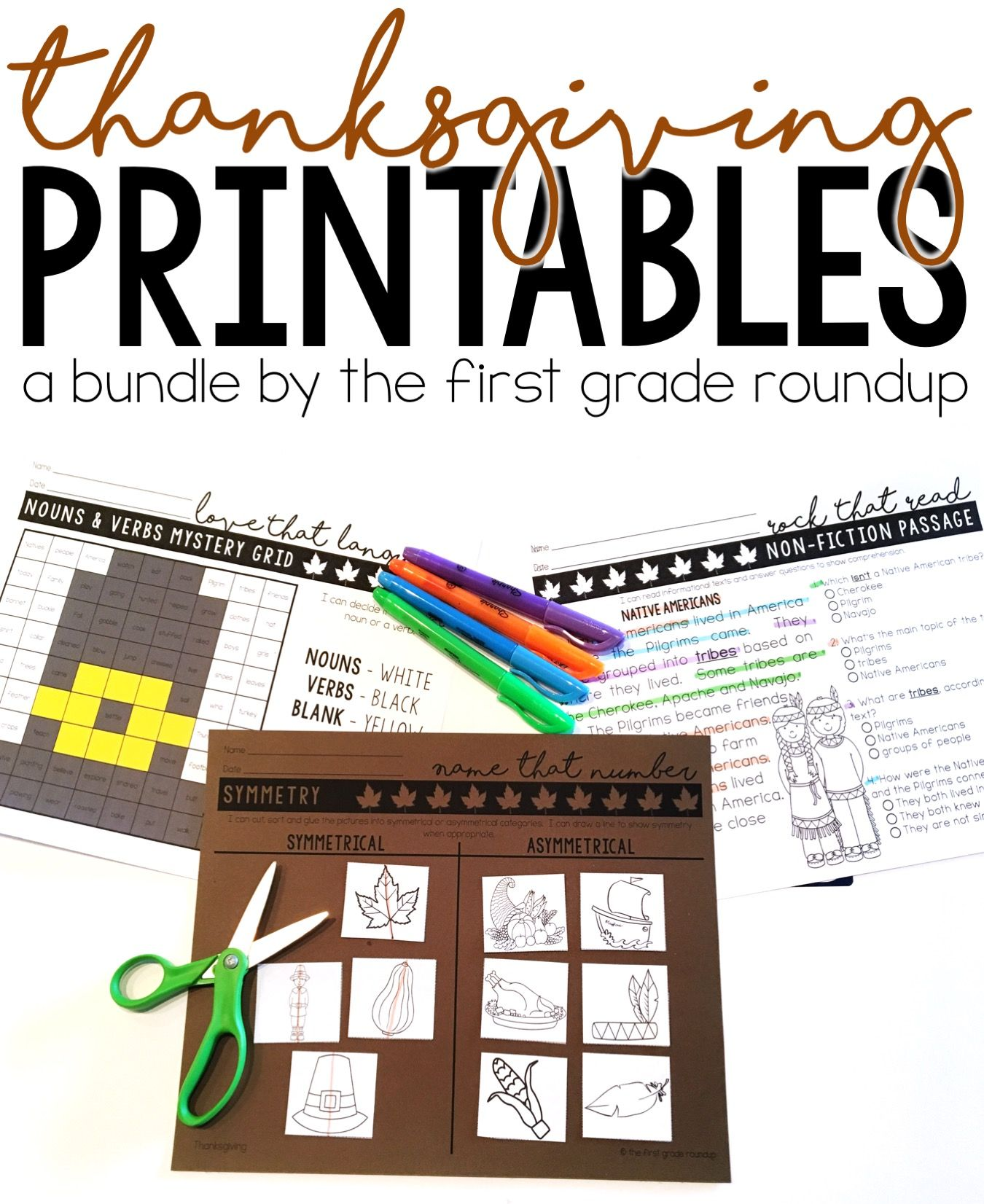 Thanksgiving Worksheets For Math And Literacy Bundle With
