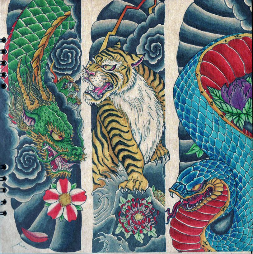 Dragon Tiger Snake By Gualdorf On Deviantart Japanese Tiger Tattoo Tiger Tattoo Japanese Tattoo