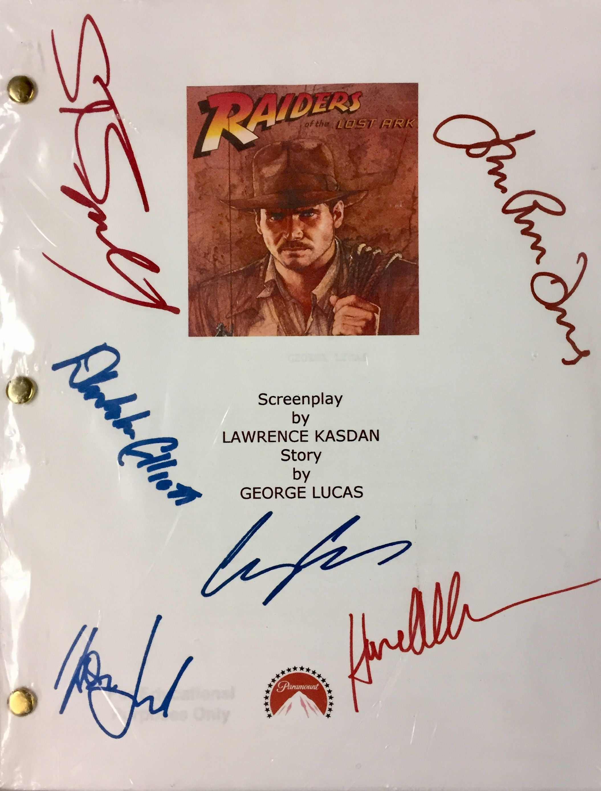 """Raiders of the Lost Ark"" Screenplay with Autographs"