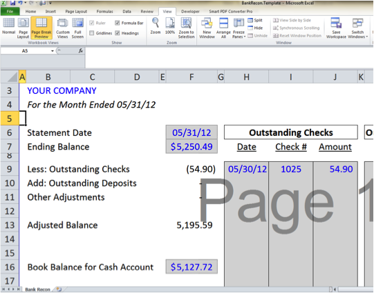 accounting reconciliation templates