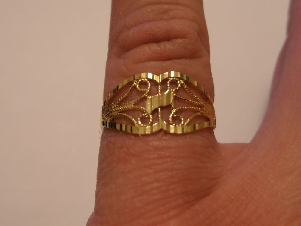 18K YELLOW GOLD RING SIZE 8 1/4 SIGNED ARR 18K TURKEY 2 08 GRAMS