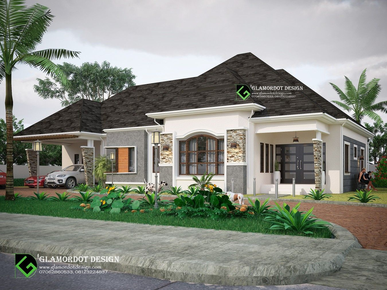 4 Bedroom Bungalow Design With A 2 Car Garage Attached For Inquiries Call 07062860533 Whatsapp Bungalow Design Beautiful House Plans Bungalow House Design