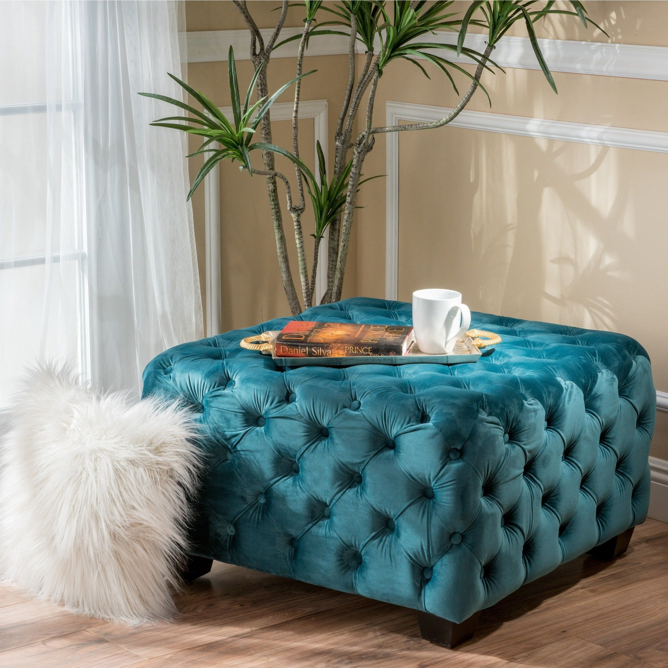 Piper Tufted Velvet Fabric Square Ottoman Bench by Christopher ...