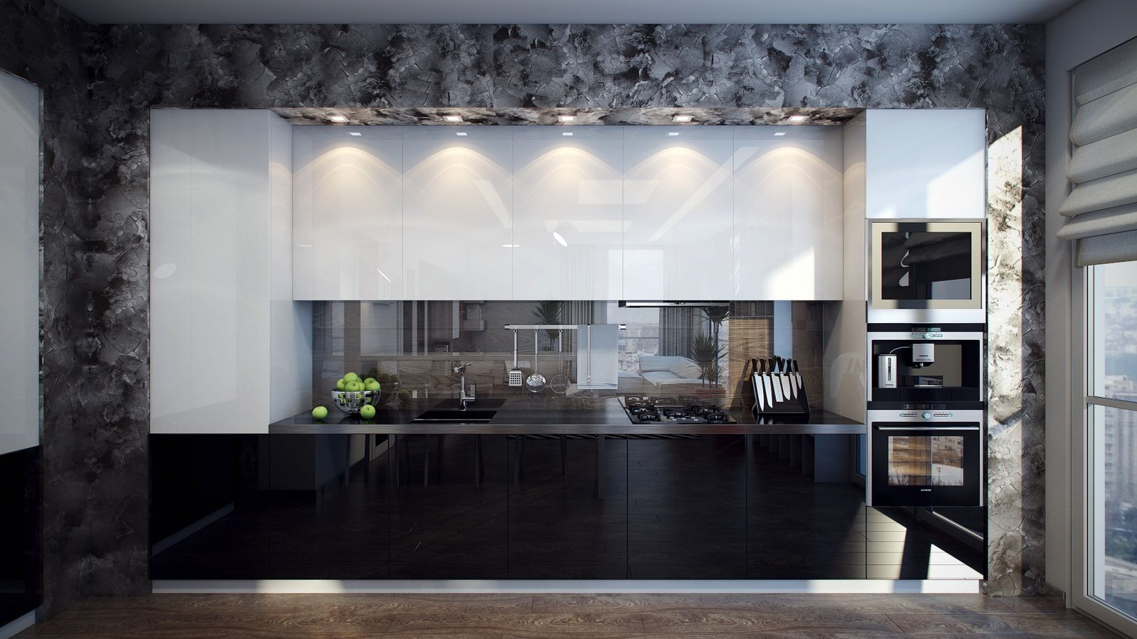 8 White Black Kitchen Units