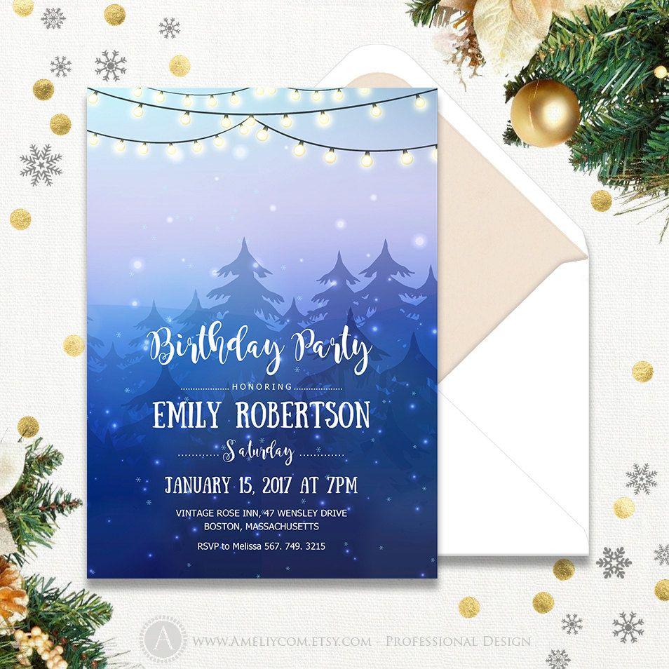 Snowflake Birthday Invitation Printable Woodland & String Lights ...