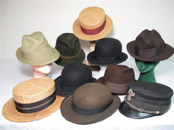 016fd65c 281: 10 vintage mens hats 1890's derby straw bowlers et | 1890 to ...