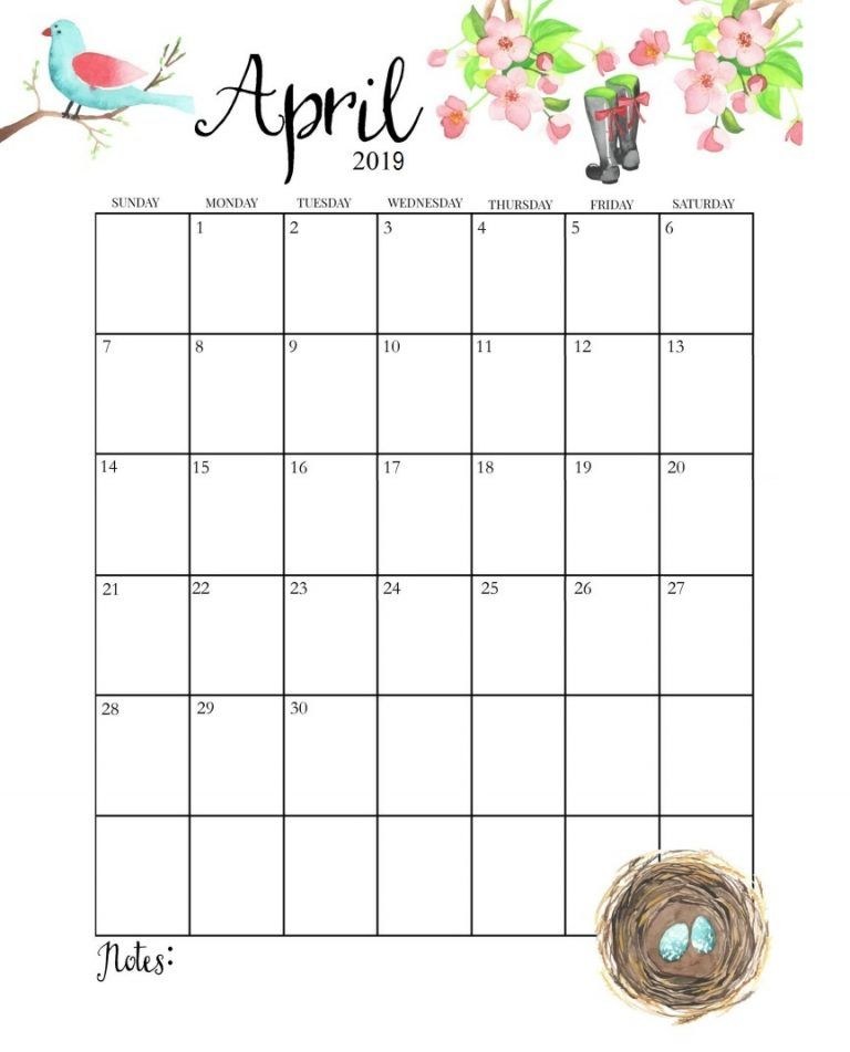 Cute April 2019 Calendar | Calendar 2019 | April calender, April ... Pinterest Cute April 2019 Calendar