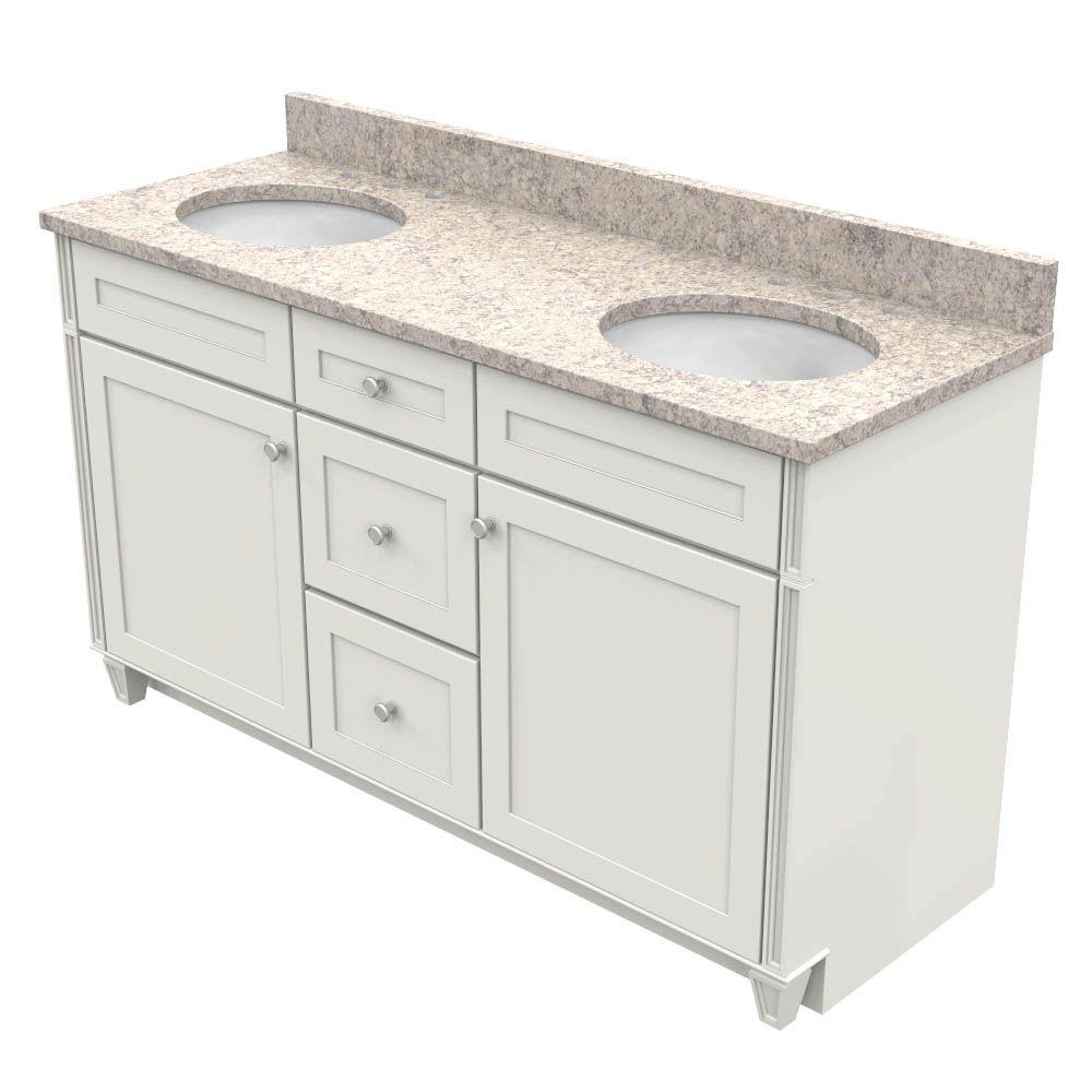 Kraftmaid 60 In Vanity In Dove White With Natural Quartz Vanity Top In Shadow Swirl And White Double Basin Products Quartz Vanity Tops Vanity Bath Vanit
