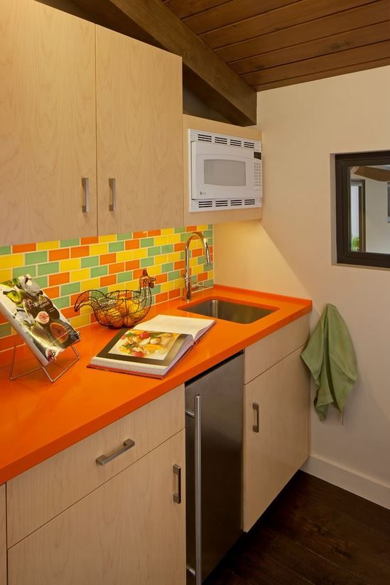 Beau Orange Corian Countertop Kitchen   Susan Jay Design