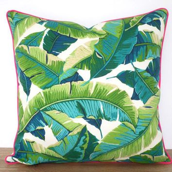 Swaying Palm Leaf Pillow Case Indoor Outdoor Fabric Green