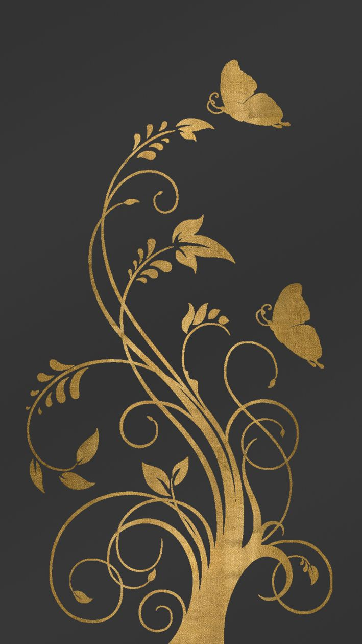 Elegant Digital Wallpaper Lockscreen For Smartphone Featuring A Golden Flower Theme Gold Art Digital Wallpaper Copper Art