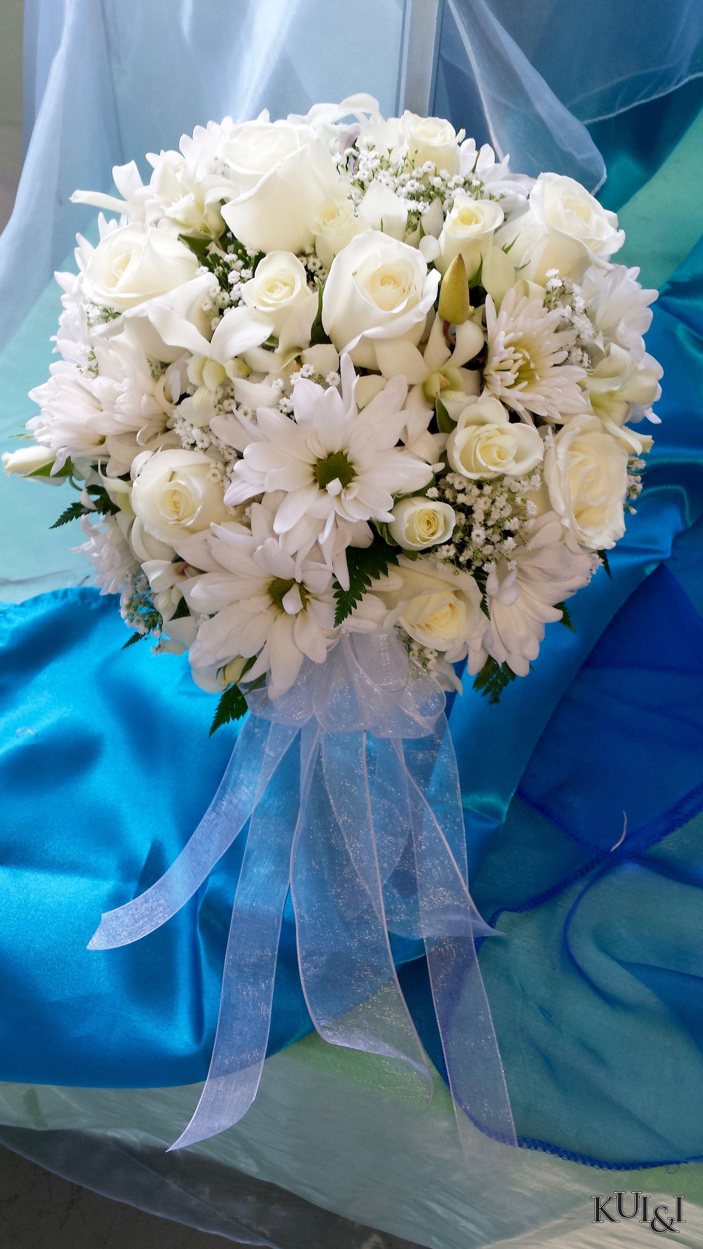White Spherical Wedding Bouquet Kui I Florist Llc Hilo Hawaii