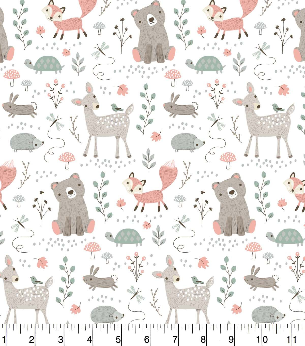 Nursery Flannel Fabric Woodland Animals