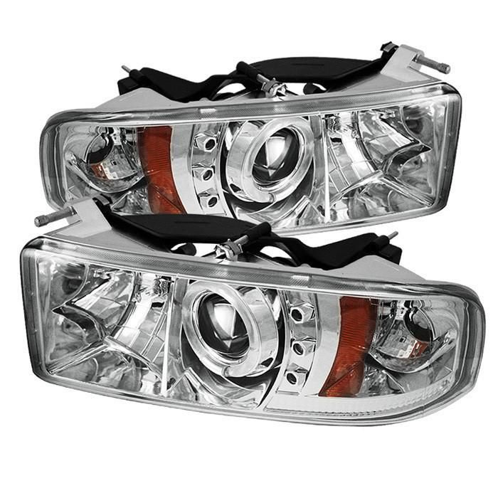 Dodge Ram 1500 94 01 Ram 2500 3500 94 02 99 01 Ram Sport Projector Headlights Led Halo Led Replaceable Projector Headlights Led Projector Led Halos