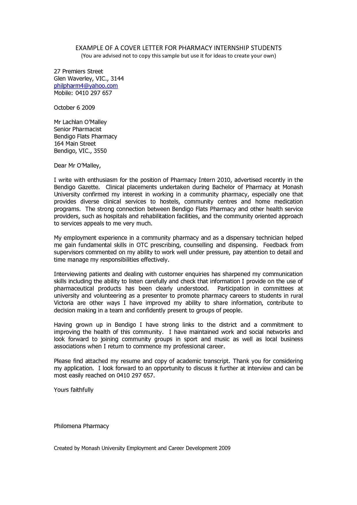 Pharmacy Cover Letter Example Sample Resume Cover Letter Cover