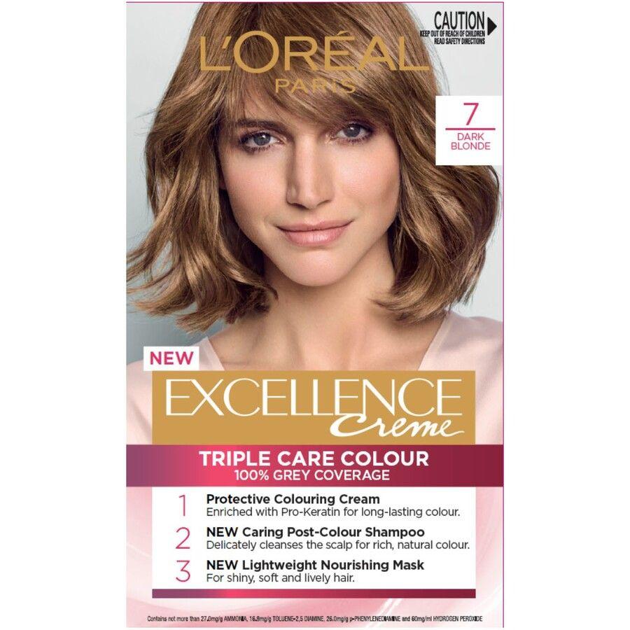 L Oreal Paris Excellence Creme Hair Colour 7 Dark Blonde Big W In 2021 Loreal Nourishing Hair Color Shampoo