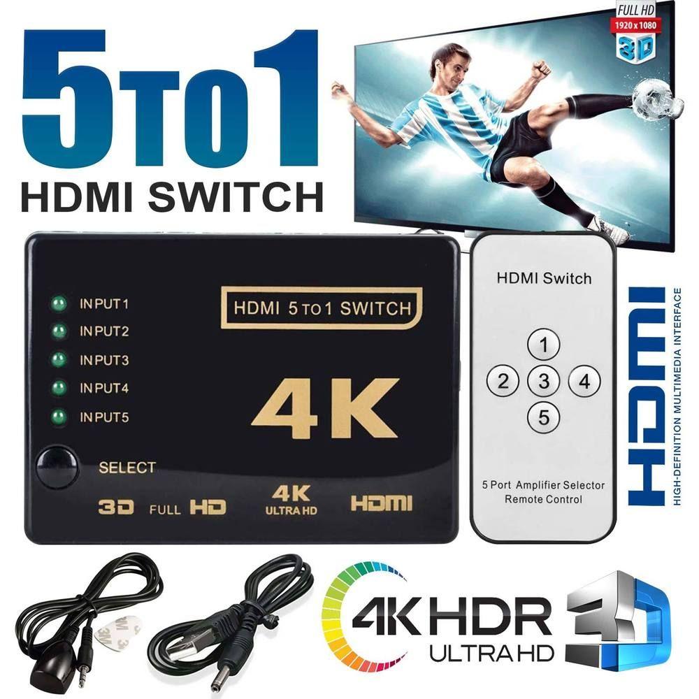 UHD 5 Port HDMI Switch Splitter 4K 3D 1080P IR Remote Control