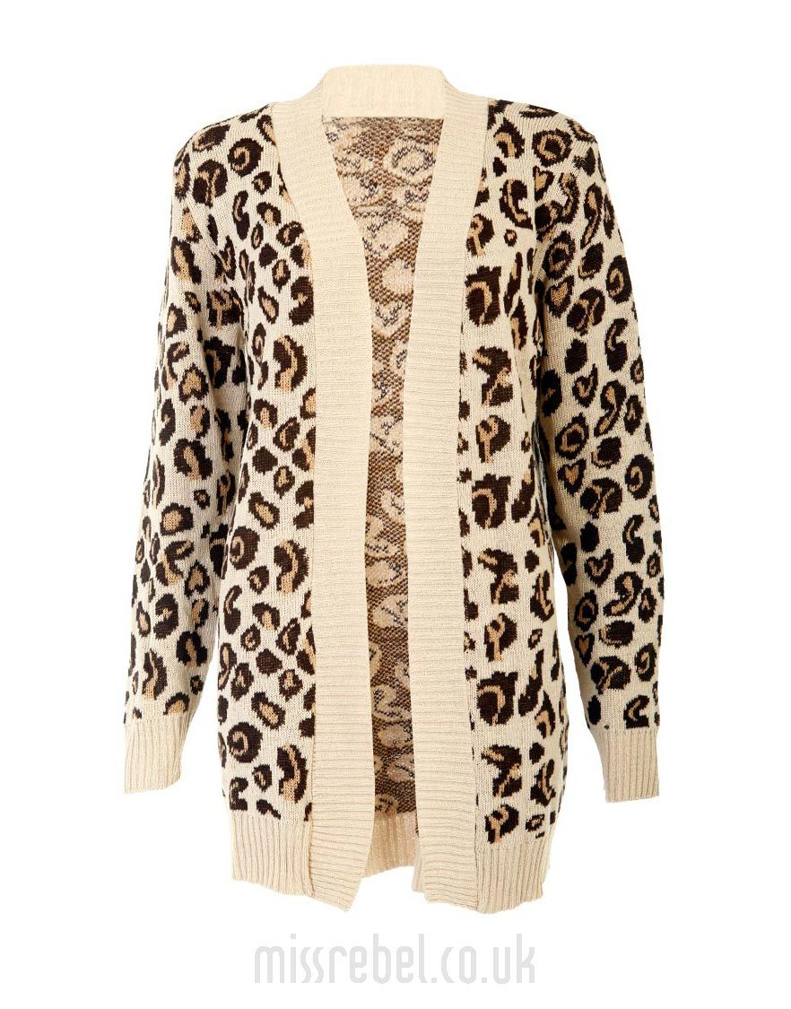 Animal Print Knitted Cardigan / Beige - Womens Clothing Sale ...