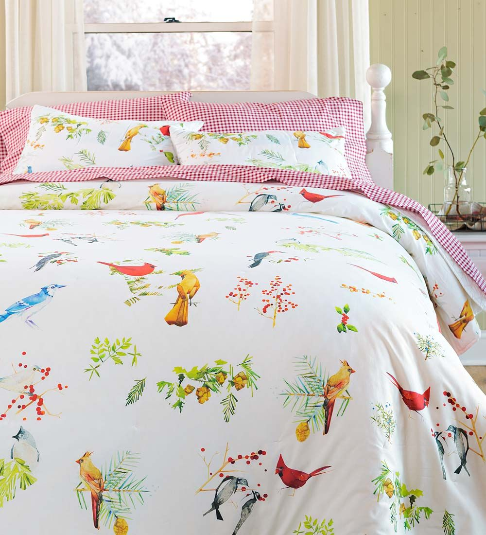 King Watercolor Songbirds Quilt Set Collection