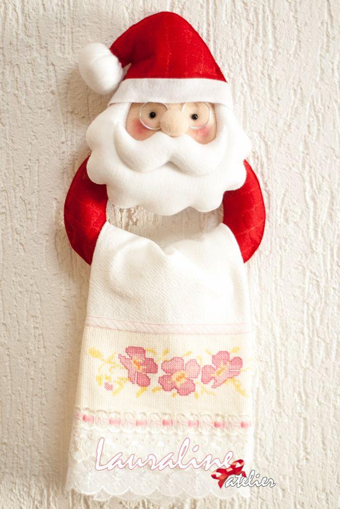 Papai Noel porta pano de prato #lauralineatelier #feltrossantafe ...