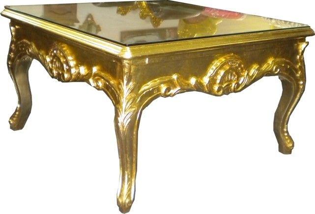 Casa Padrino Barock Couchtisch 70 x70 cm Gold - Couch Tisch