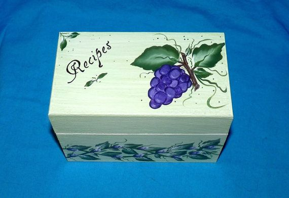 Decorative Recipe Boxes Amusing Grapes Recipe Box Wood Recipe Card Box Grapesessenceofthesouth Design Decoration