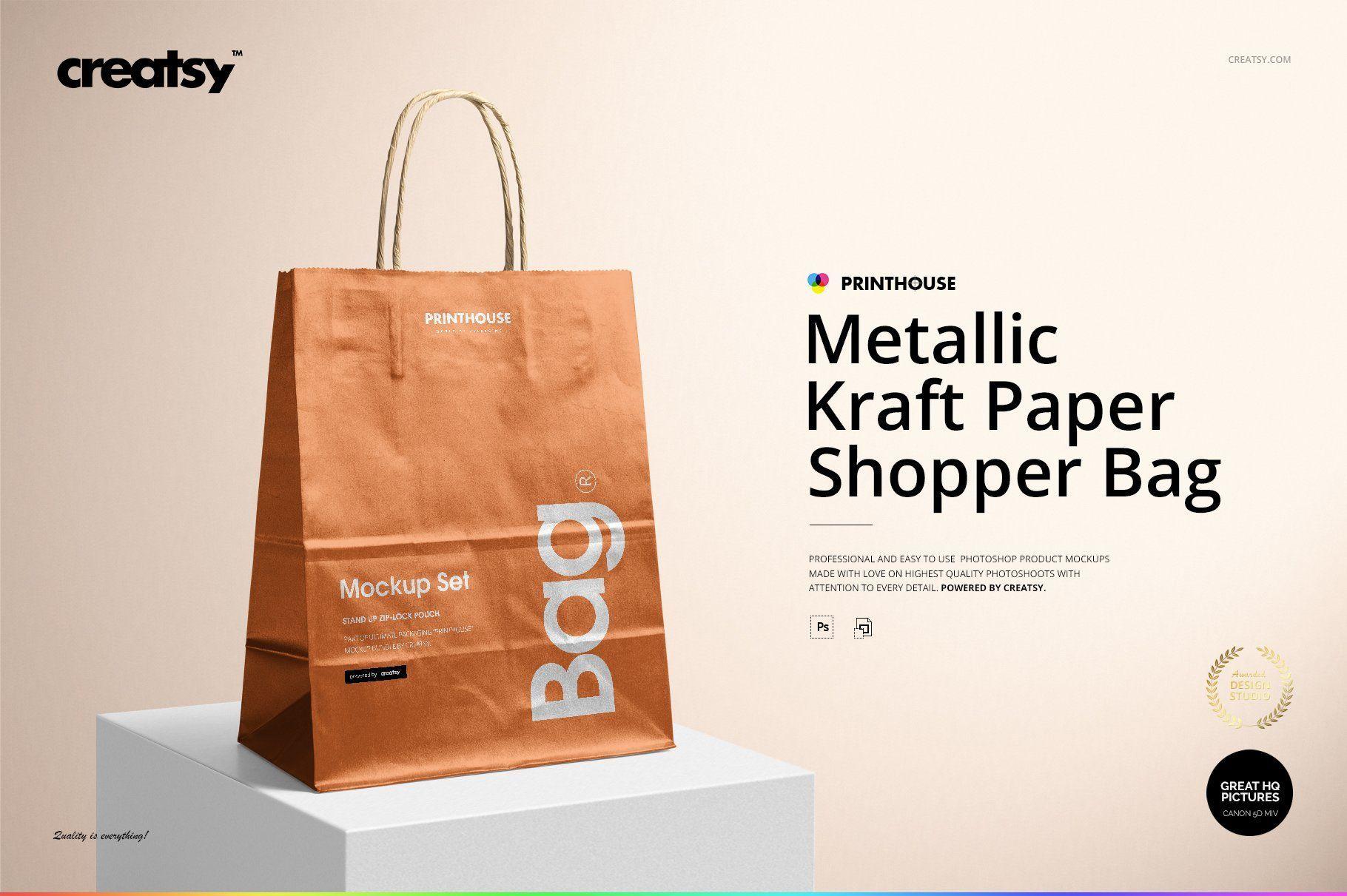 Download Metallic Kraft Paper Bag Mockup Set Bag Mockup Paper Bag Graphic Design Tips