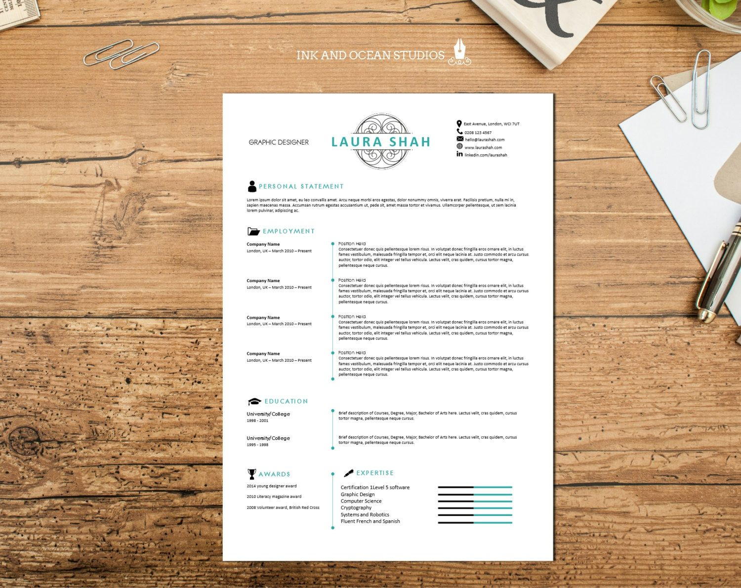 slick  elegant resume    cv design with cover letter and reference page - word format