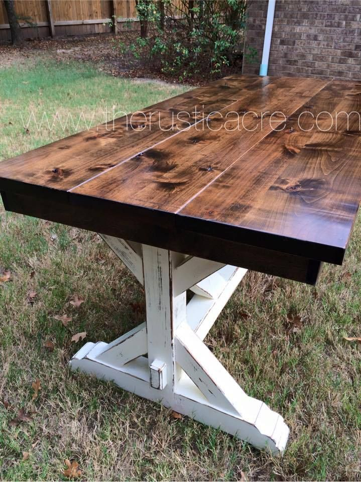 Farmhouse table the rustic acre college station tx for Post trestle farm table plans