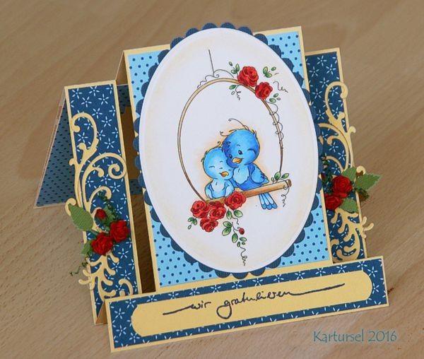 """blog.karten-kunst.de - Treppenkarte. Wee Stamps Bird Swing, Karten-Kunst Schriftzug """"Wir gratulieren"""" (Anne)"""