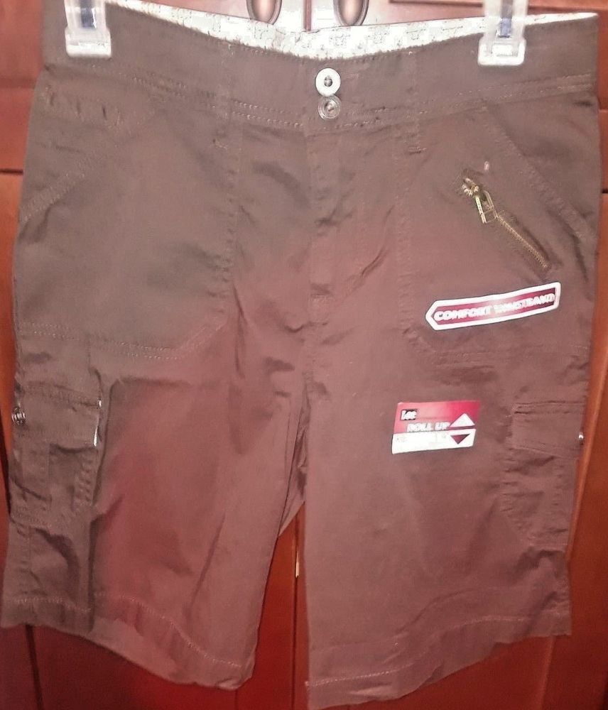 Lee Women S Comfort Fit Stretch Cargo Size 4 M Shorts Brown 9