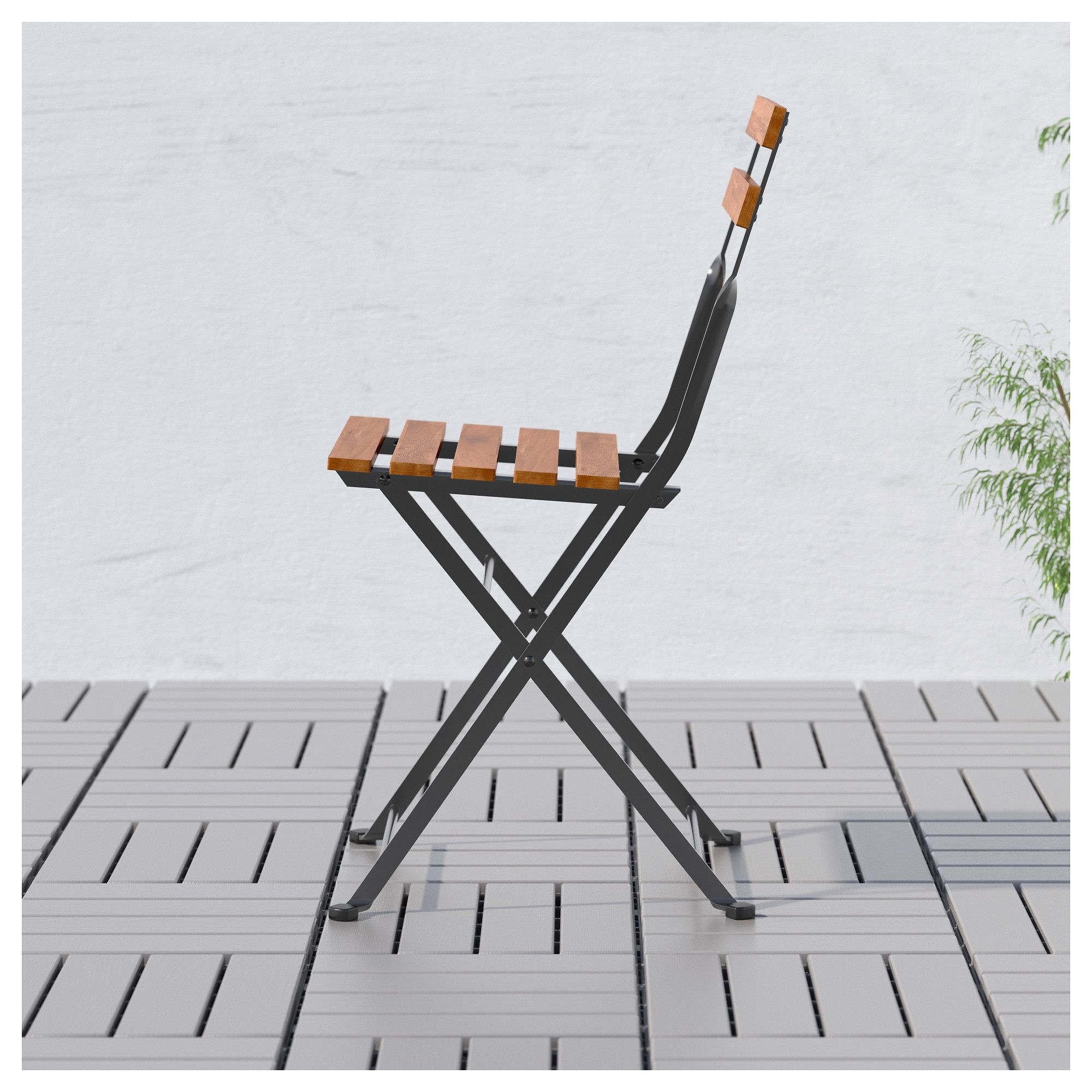 Trn Chair Outdoor Foldable Acacia Black Gray-brown