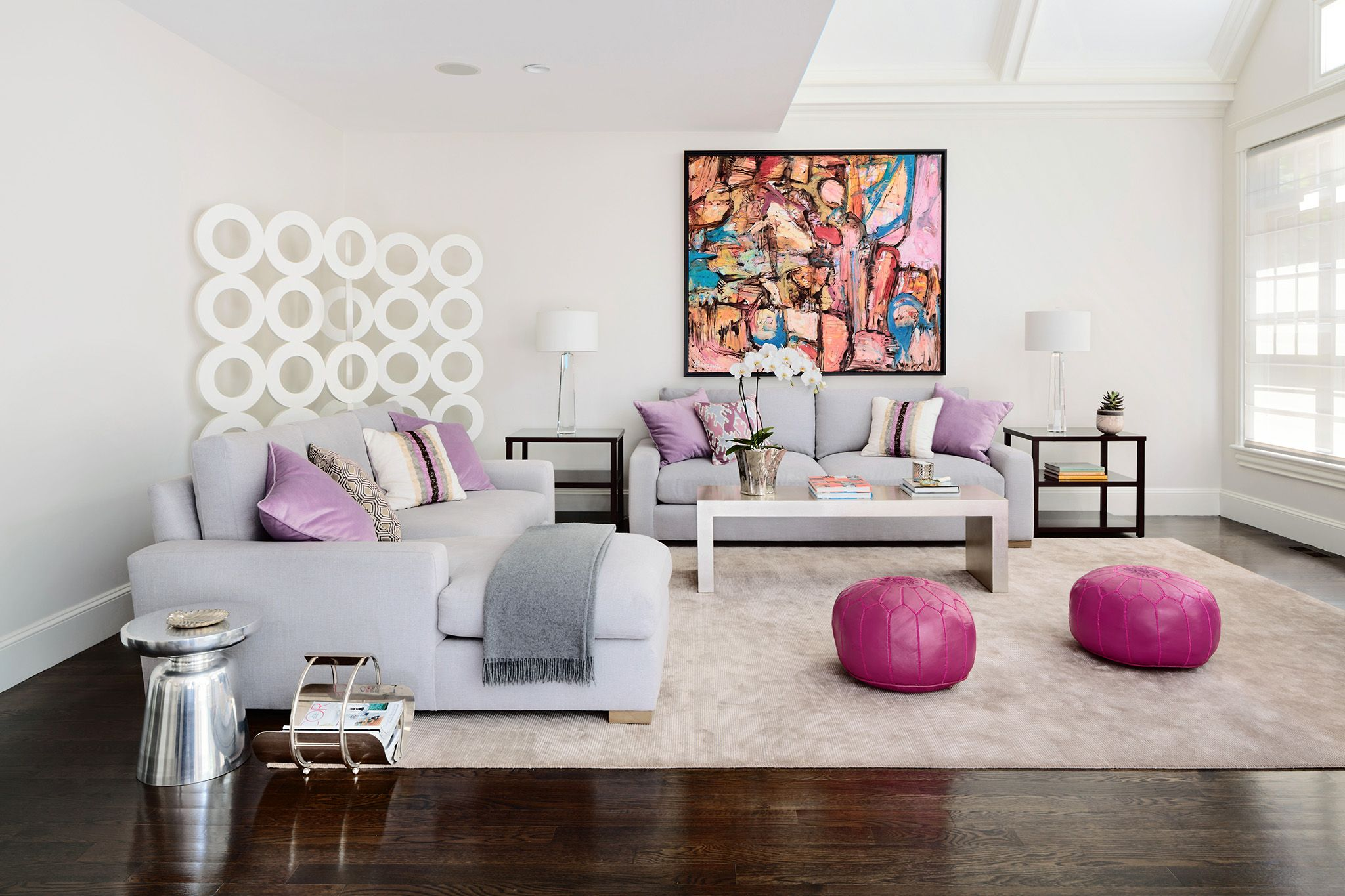 Lilac and Fuchsia family room. Modern but comfortable. Transitional ...