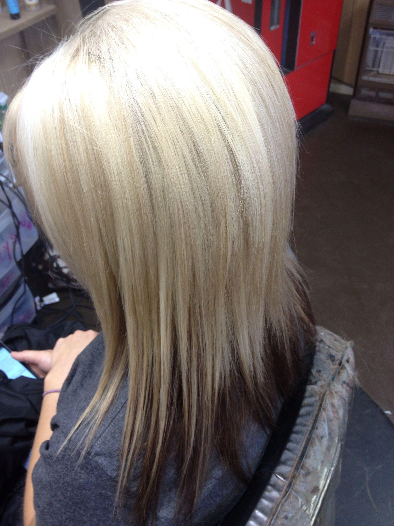 Multi tone blonde highlights dark brown bottom highlights lowlights