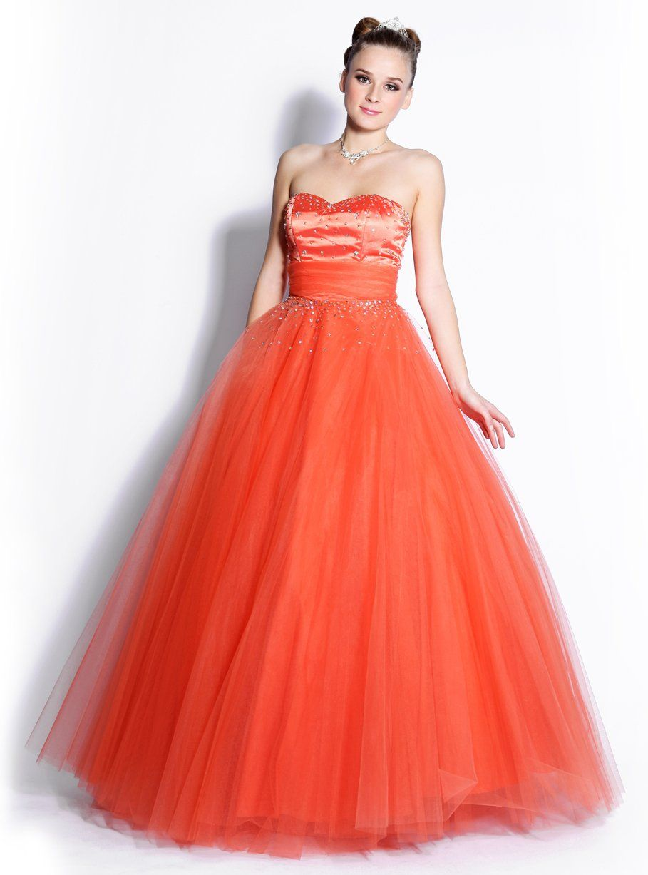 Quinceanera Dress Orange Princess Poofy Gown Strapless Removable ...