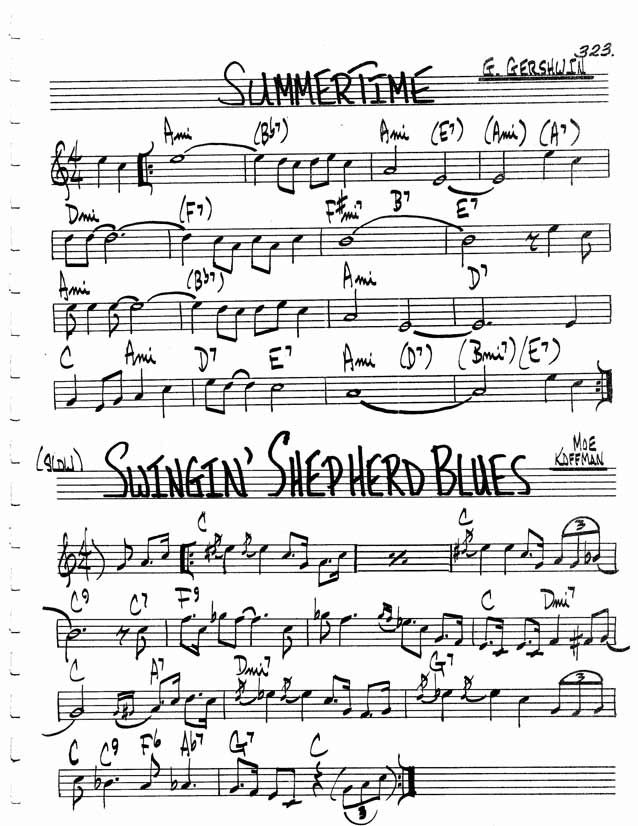 Jazz Standard Realbook Chart Summer Time Sheet Music Resources For