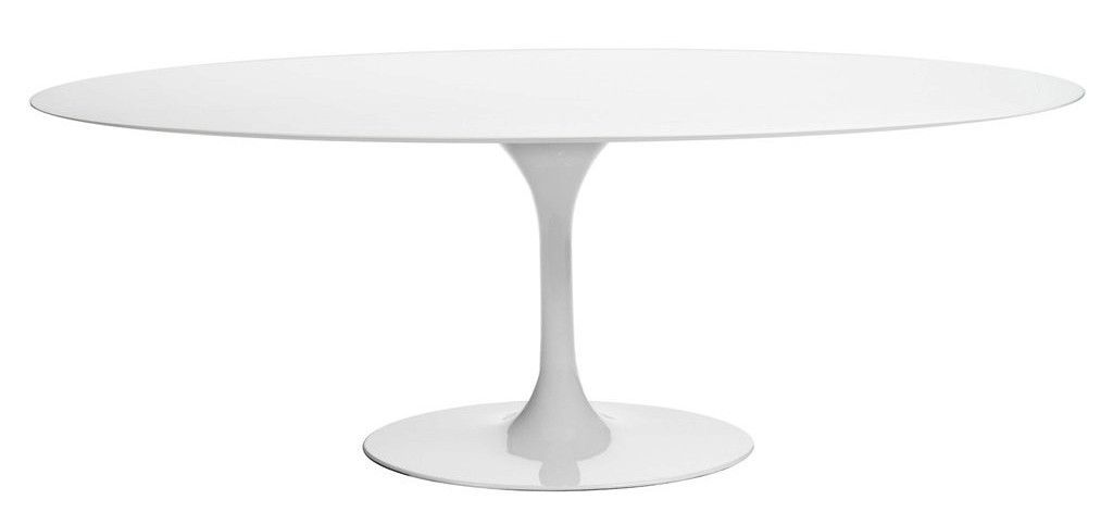 Saarinen Oval Tulip Table   White Lacquer