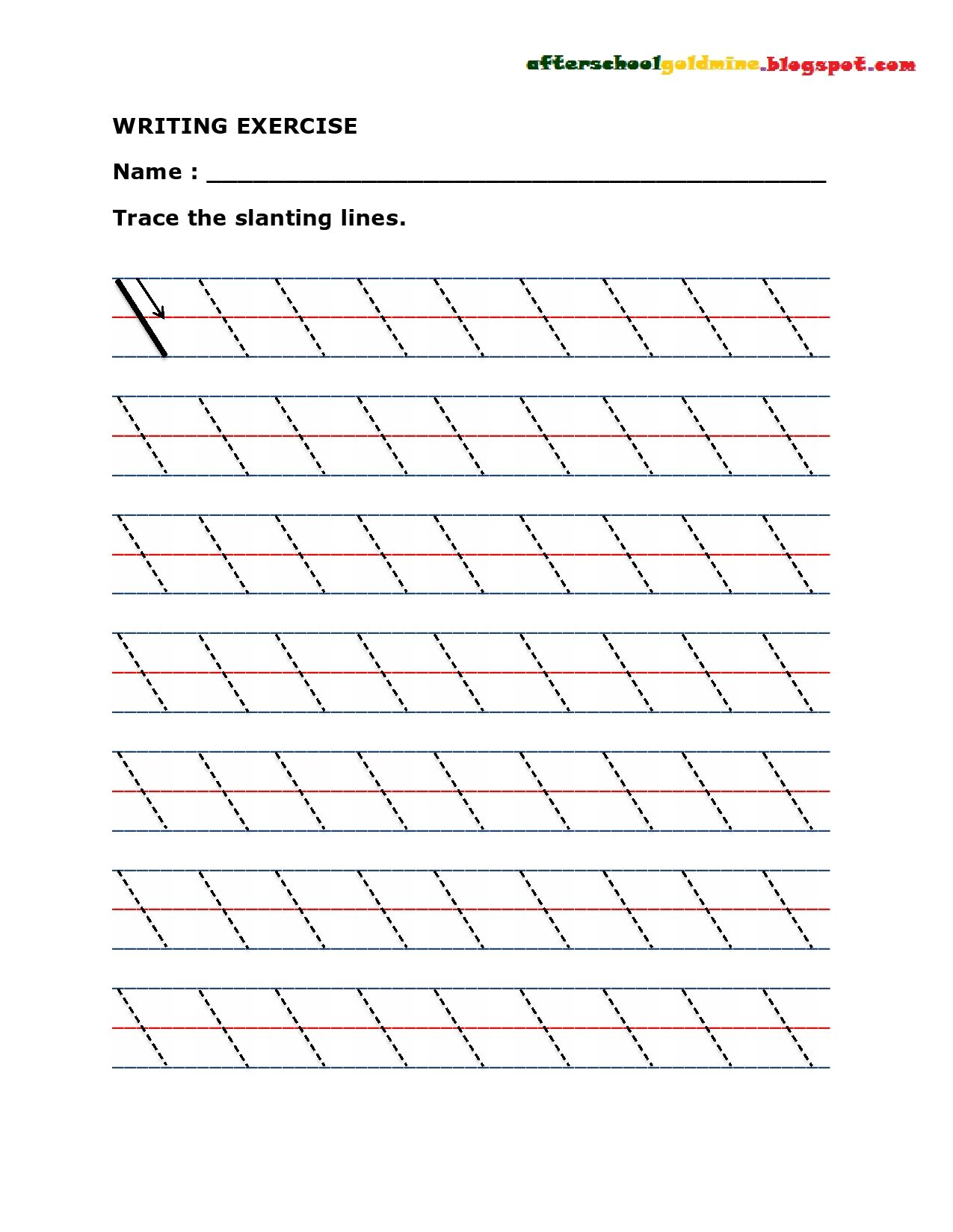 Writing Exercise Trace Lines Diagonal Writing Exercises Trace The Lines Slanting