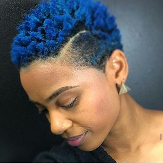 Short And Blue Naturalhair Twa Naturalcut Naturalgirls