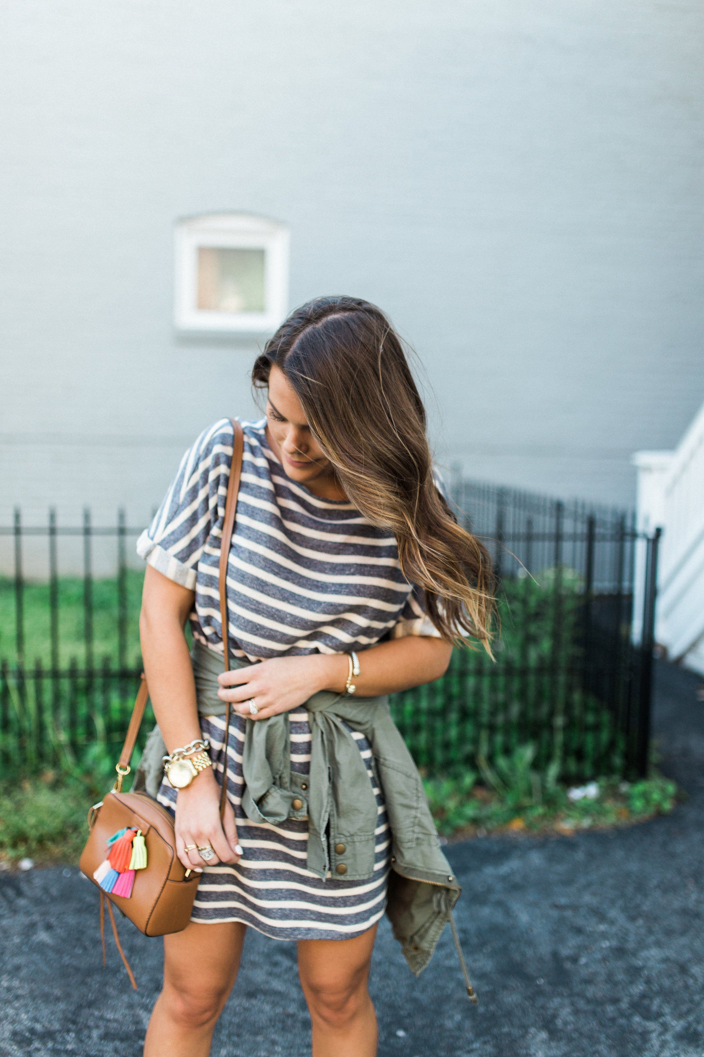 Green t shirt dress outfit  stripes u tassels  Utility jacket Spring style and Rebecca minkoff