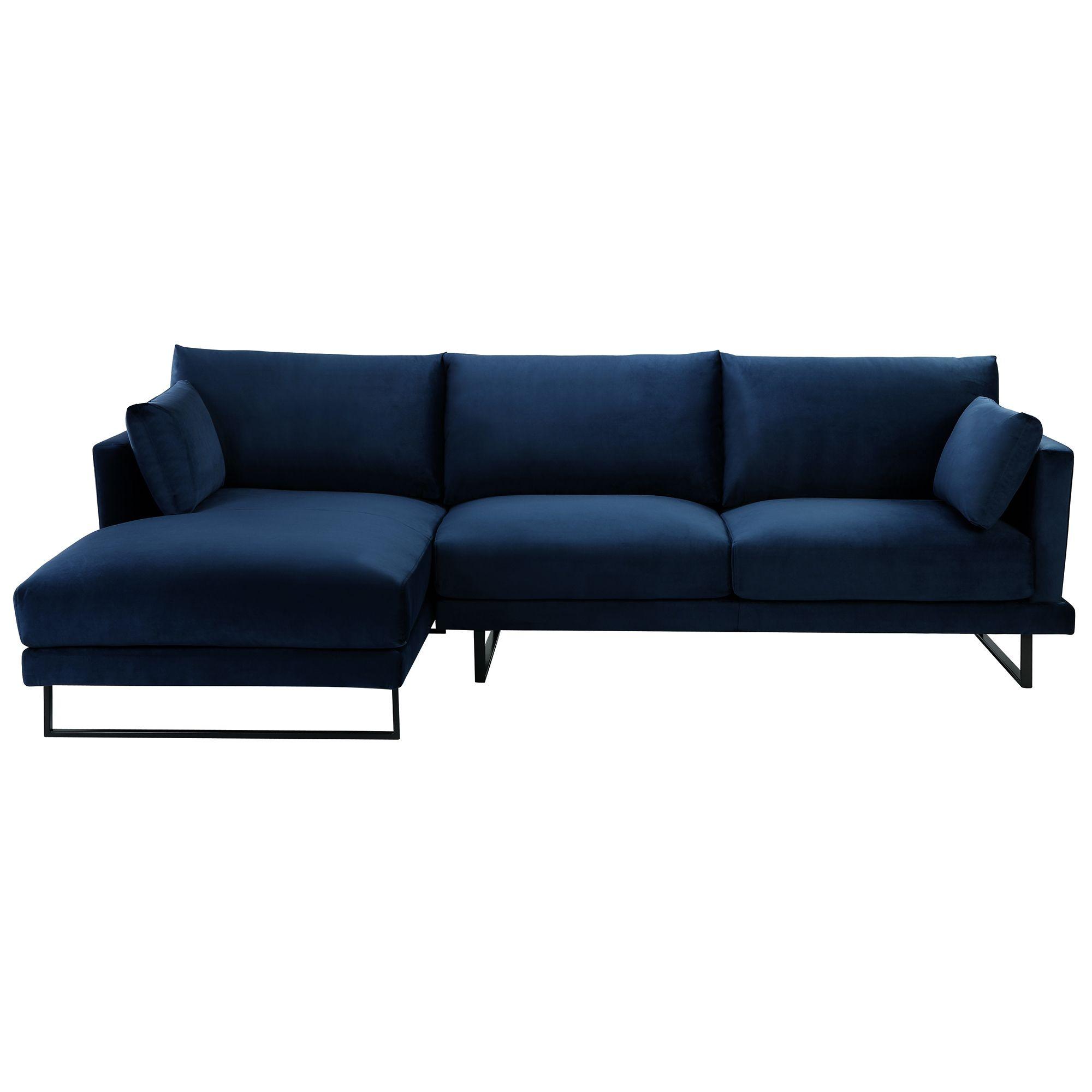 Best 3 Seater Navy Velvet Zanda L Shaped Sofa Temple 400 x 300