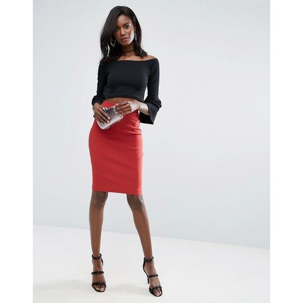 8cb84b83386e ASOS High Waisted Pencil Skirt ($23) ❤ liked on Polyvore featuring skirts,  red, high-waisted skirt, red pencil skirt, red bodycon skirt, high-waisted  ...