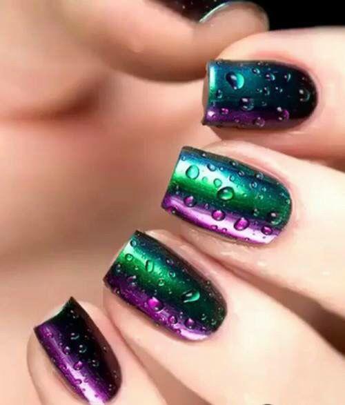Morado Y Verde Tornasol Nails Ideas En 2019 Pinterest Nails