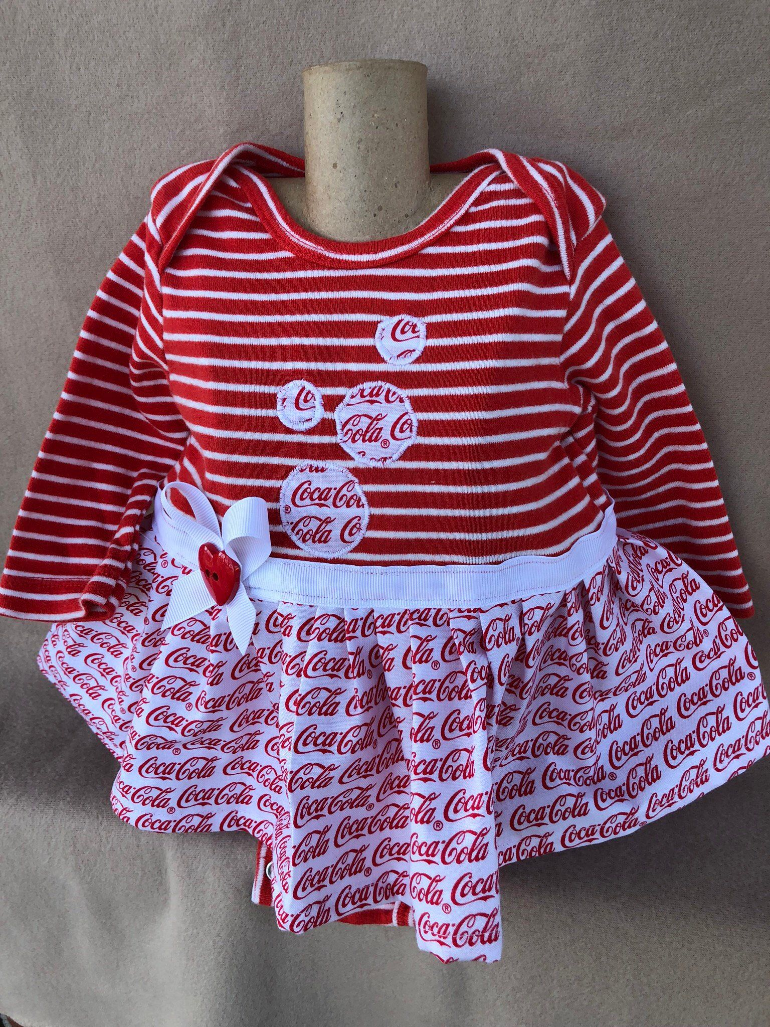 025881ad7 Excited to share the latest addition to my #etsy shop: 0-3 months girls  onesie/ infants onesie dress/ girls clothes/ coca cola/ valentines/ hearts