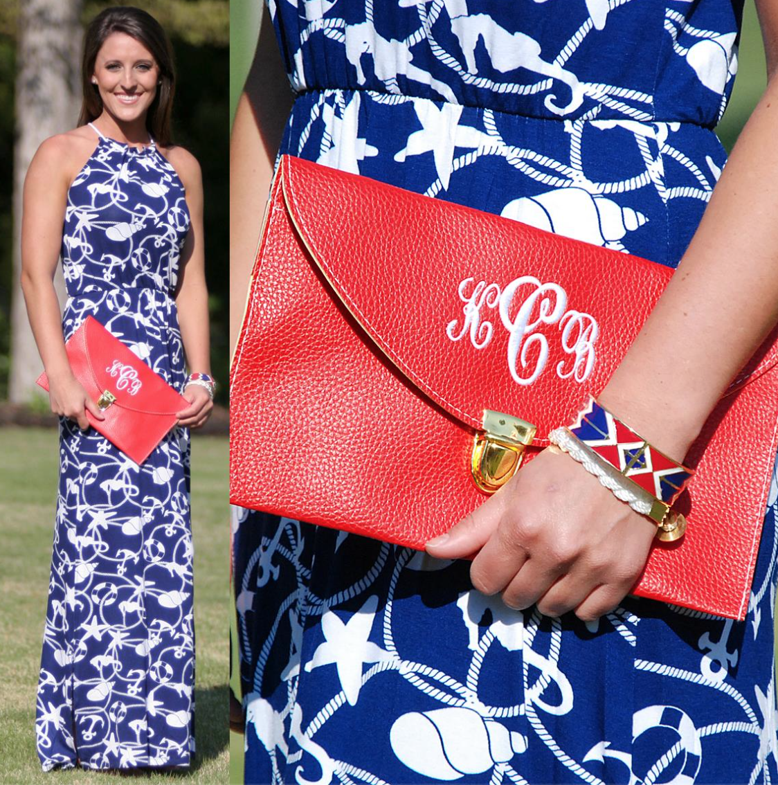 Monogrammed Red Cross Body Luxe Clutch from Marleylilly.com, Dress from Mondaydress.com = Nautical Perfection