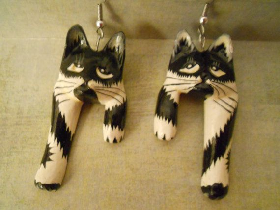 Tiger Lily Black and White Tuxedo Cat Earrings  by RosieandZoe, $15.00